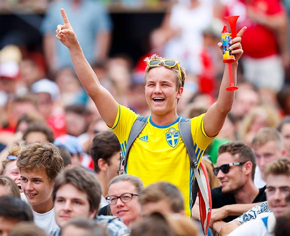 Swedish supporter celebrates his team's goal during the public viewing of the FIFA 2018 World Cup round of 16 soccer match between Switzerland and Sweden, in a fan zone in Vevey, Switzerland, Tuesday, July 3, 2018. Sweden on 1-0. EPA/Calentin Flauraud
