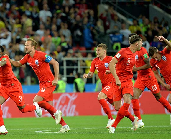 Players of England celebrate winning the FIFA World Cup 2018 round of 16 soccer match between Colombia and England in Moscow, Russia, 03 July 2018.  EPA/Peter Powell