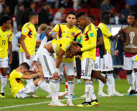 Players of Colombia react after the penalty shootout of the FIFA World Cup 2018 round of 16 soccer match between Colombia and England in Moscow, Russia, 03 July 2018. England won 4-3 on penalties. EPA/Yuro Kochetkov