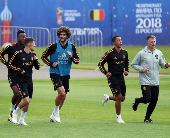 Belgium players during a  training session held at Guchkovo Stadium, Moscow  region, Istra district Russian Federation, 04 July 2018. Belgium will will face Brazil on 06 July in a quarter final match of the FIFA World Cup 2018.  EPA/Abedin Terkenareh