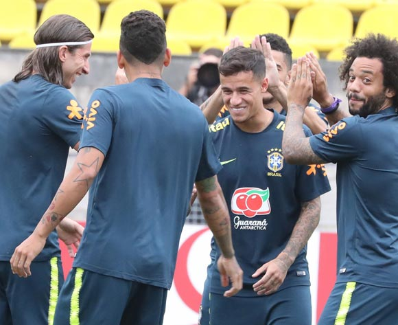 Brazil's player Marcelo (R) during a training session in Sochi, Russia, 04 July 2018. Brazil will face Belgium in their FIFA World Cup 2018 quarter final soccer match on 06 July 2018 in Kazan. EPA/Khaled Elfiqi