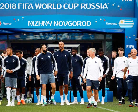 Players of France attend their team's training session in Nizhny Novgorod, Russia, 05 July 2018. France will face Uruguay in the FIFA World Cup 2018 quarter final soccer match on 06 July 2018. EPA/Franck Robichon