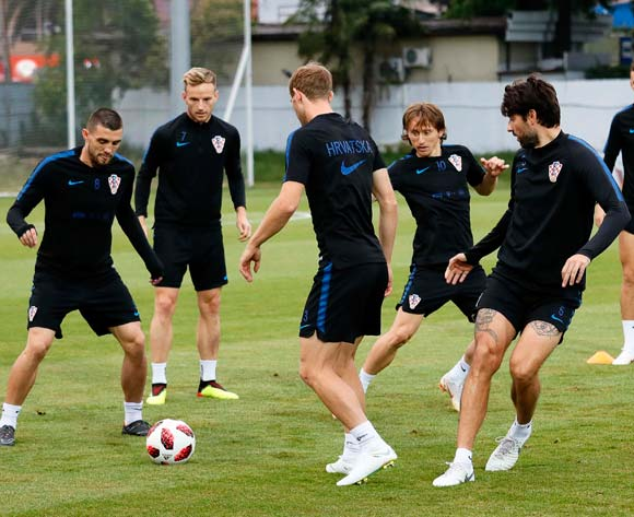 Players of Croatia perform during their team's training session in Sochi, Russia, 05 July 2018. Croatia will face Russia in their FIFA World Cup 2018 quarter final soccer match on 07 July 2018 in Sochi. EPA/Ronald Wittek