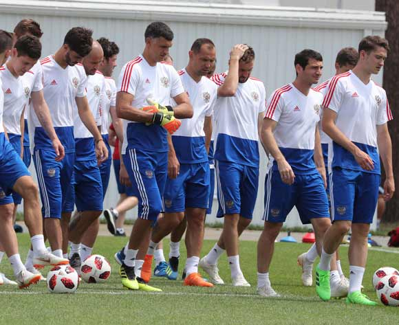 Russian players during their team's training session in Sochi, Russia, 06 July 2018. Croatia will face Russia in their FIFA World Cup 2018 quarterfinal soccer match on 07 July 2018 in Sochi. EPA/Khaled Elfiqi