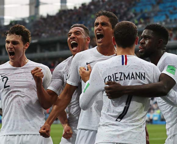 Raphael Varane (C) of France celebrates with his teammates after scoring the 1-0 lead during the FIFA World Cup 2018 quarter final soccer match between Uruguay and France in Nizhny Novgorod, Russia, 06 July 2018. EPA/Vassil Donev