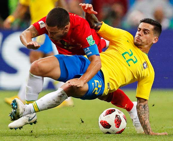 Fagner (R) of Brazil in action against Eden Hazard (L) of Belgium during the FIFA World Cup 2018 quarter final soccer match between Brazil and Belgium in Kazan, Russia, 06 July 2018. EPA/Robert Ghement