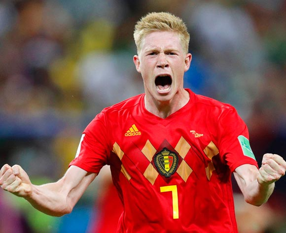 Kevin De Bruyne of Belgium celebrates after the FIFA World Cup 2018 quarter final soccer match between Brazil and Belgium in Kazan, Russia, 06 July 2018. Belgium won 2-1. EPA/Robert Ghement