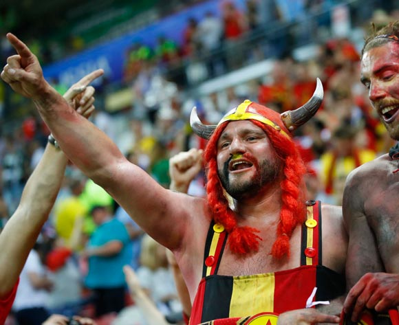 Supporters of Belgium celebrate after the FIFA World Cup 2018 quarter final soccer match between Brazil and Belgium in Kazan, Russia, 06 July 2018. Belgium won the match 2-1. EPA/Diego Azubel
