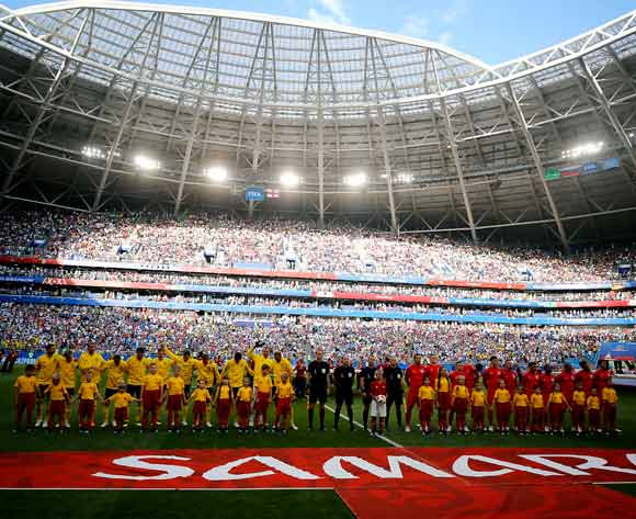 Players of Sweden and England line up for the National anthems before the FIFA World Cup 2018 quarter final soccer match between Sweden and England in Samara, Russia, 07 July 2018. EPA/Sergei Ilnitsky