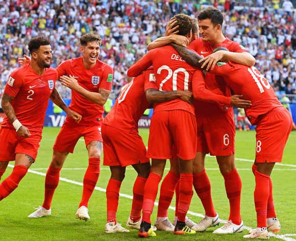Dele Alli (C) of England celebrates with his teammates after scoring the 2-0 lead during the FIFA World Cup 2018 quarter final soccer match between Sweden and England in Samara, Russia, 07 July 2018. EPA/Facundo Arrizabalaga