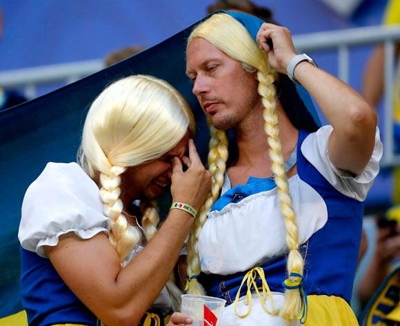 Fans of Sweden react after the FIFA World Cup 2018 quarter final soccer match between Sweden and England in Samara, Russia, 07 July 2018. EPA/Sergei Ilnitsky