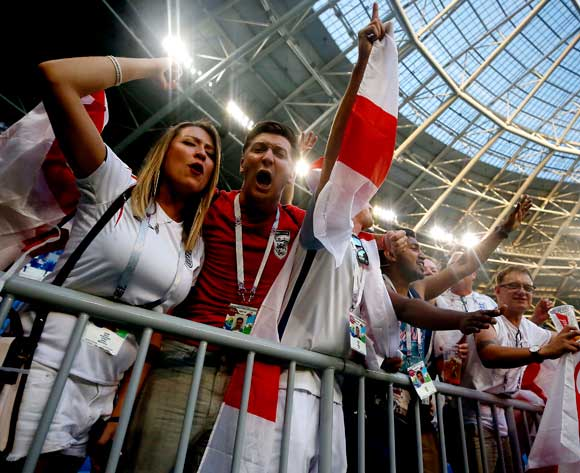 Fans of England celebrate after the FIFA World Cup 2018 quarter final soccer match between Sweden and England in Samara, Russia, 07 July 2018. EPA/Sergei Ilnitsky