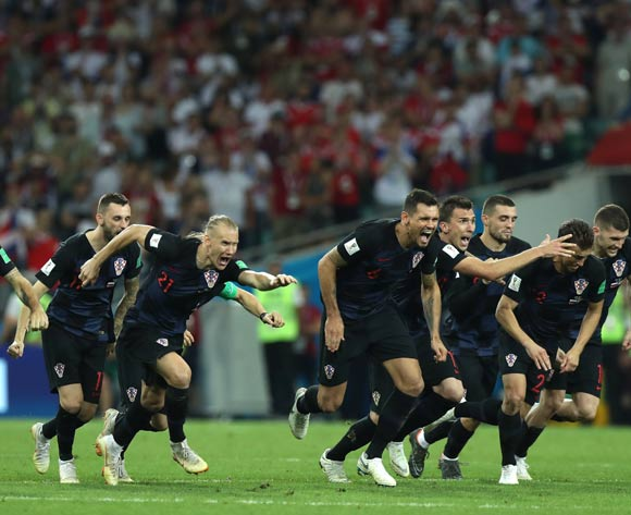 Players of Croatia celebrate winning the penalty shoutout of the FIFA World Cup 2018 quarter final soccer match between Russia and Croatia in Sochi, Russia, 07 July 2018. EPA/Mohamed Messara