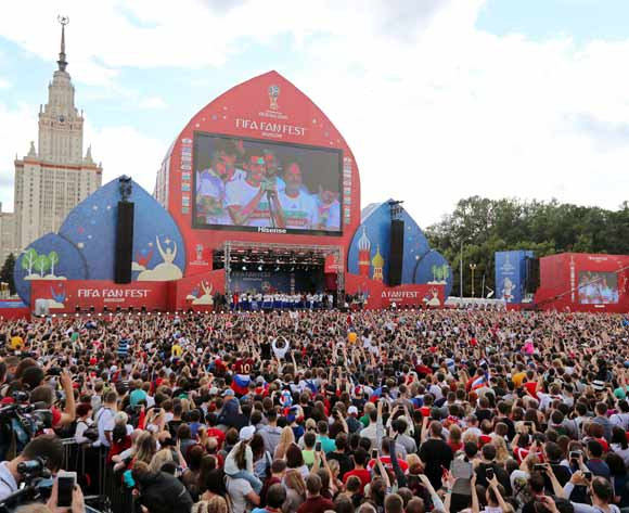 Players of the Russian national soccer team celebrate with fans at the FIFA Fan Fest zone in central Moscow, Russia 08 July 2018. Russia dropped out of the FIFA World Cup 2018 after their defeat against Croatia in the quarter finals on 07 July.  EPA/Zurab Kurtsikidze