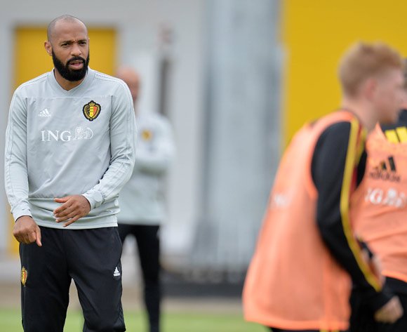 Belgian assistant coach Thierry Henry gives out instructions during a training session held at Guchkovo Stadium, Moscow, Russia, 09 July 2018. Belgium will face France in a semi final match of the FIFA World Cup 2018 Russia on 10 July. EPA/Peter Powell