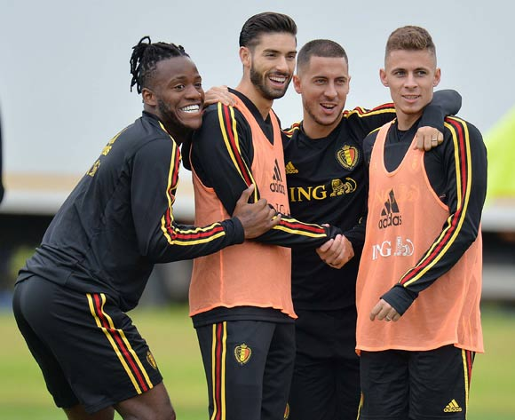 Belgian players (from lef) Michy Batshuayi, Yannick Carrasco, Eden Hazard and Thorgan Hazard during a training session held at Guchkovo Stadium, Moscow, Russia, 09 July 2018. Belgium will face France in a semi final match of the FIFA World Cup 2018 Russia on 10 July. EPA/Peter Powell