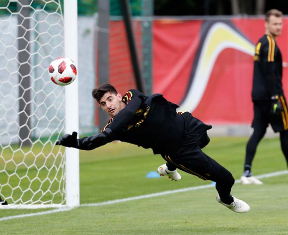Belgian goalkeeper Thibaut Courtois during a training session held at Guchkovo Stadium, Moscow, Russia, 09 July 2018. Belgium will face France in a semi final match of the FIFA World Cup 2018 Russia on 10 July.  EPA/Felipe Trueba