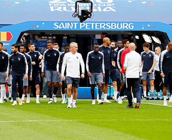 France's head coach Didier Deschamps (C) and his players arrive for their team's training session in St.Petersburg, Russia, 09 July 2018. France will face Belgium in their FIFA World Cup 2018 semi final soccer match on 10 July. EPA/Etienne Laurent