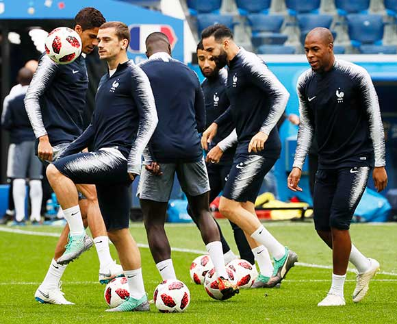 France's Antoine Griezmann (front L) and his teammates attend their training session in St.Petersburg, Russia, 09 July 2018. France will face Belgium in their FIFA World Cup 2018 semi final soccer match on 10 July. EPA/Etienne Laurent