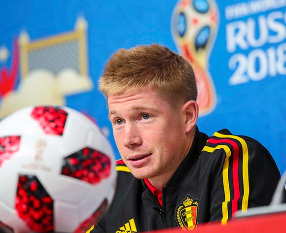 Belgium's Kevin De Bruyne speaks during a press conference in St.Petersburg, Russia, 09 July 2018. Belgium will face France in their FIFA World Cup 2018 semi final soccer match on 10 July.  EPA/Georgi Licovski
