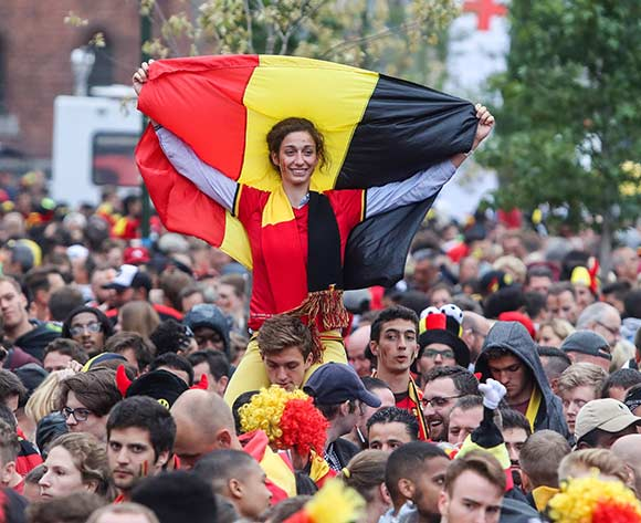 Belgian soccer fans waiting for the start of the FIFA World Cup 2018 semi final match between Belgium and France at a public viewing in Jette, Brussels, Belgium, 10 July 2018.  EPA/Stephanie Lecocq