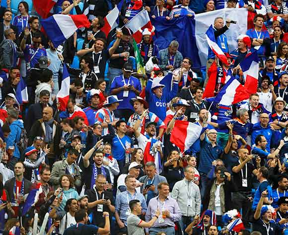 Supporters of France  cheer prior to the FIFA World Cup 2018 semi final soccer match between France and Belgium in St.Petersburg, Russia, 10 July 2018. EPA/Etienne Laurent