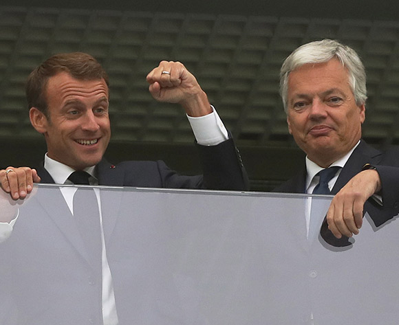 (L-R)French President Emmanuel Macron and Belgian Foreign Minister Didier Reynders before the FIFA World Cup 2018 semi final soccer match between France and Belgium in St.Petersburg, Russia, 10 July 2018.EPA/Tolga Bozoglu