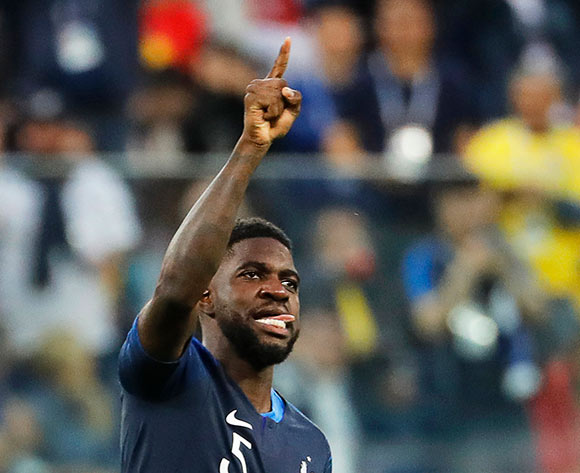Samuel Umtiti of France celebrates after scoring the 1-0 lead during the FIFA World Cup 2018 semi final soccer match between France and Belgium in St.Petersburg, Russia, 10 July 2018. EPA/Etienne Laurent