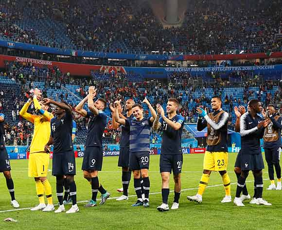 Players of France celebrate with fans after the FIFA World Cup 2018 semi final soccer match between France and Belgium in St.Petersburg, Russia, 10 July 2018. France won 1-0. EPA/Etienne Laurent