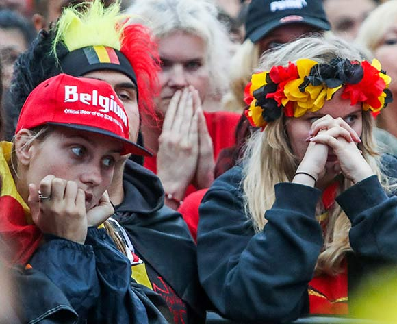 Dejected Belgian soccer fans after watching the FIFA World Cup 2018 semi final match between Belgium and France at a public viewing in Jette, Brussels, Belgium, 10 July 2018. France 1-0. EPA/Stephanie Lecocq
