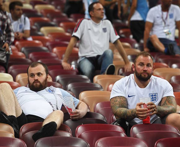 Supporters of England react after the FIFA World Cup 2018 semi final soccer match between Croatia and England in Moscow, Russia, 11 July 2018. Croatia won 2-1 after extra time. EPA/Facundo Arrizabalaga