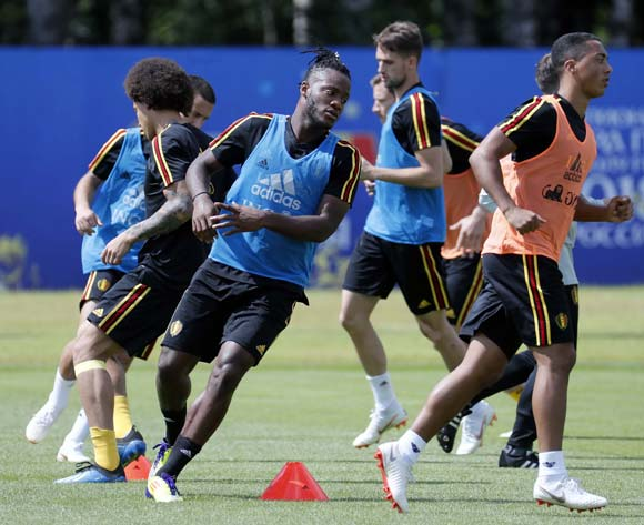Belgium forward Michy Batshuayi (C) and teammates during a training session of the team in Dedovsk, Moscow region, Russia, 13 July 2018. Belgium will face England in the 3rd place of the FIFA World Cup 2018 on 14 July. EPA/Yuri Kochetkov