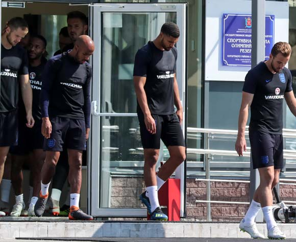 England's Harry Kane (R) and teammates arrive for the team's training session at the Spartak Zelenogorsk Stadium, Zelenogorsk, Russia 13 July 2018. England will face Belgium on 14 of July in Saint Petersburg, in their match for third place of the 2018 FIFA World Cup in Russia. EPA/Georgi Licovskisession of the team in Dedovsk, Moscow region, Russia, 13 July 2018. Belgium will face England in the 3rd place of the FIFA World Cup 2018 on 14 July. EPA/Yuri Kochetkov