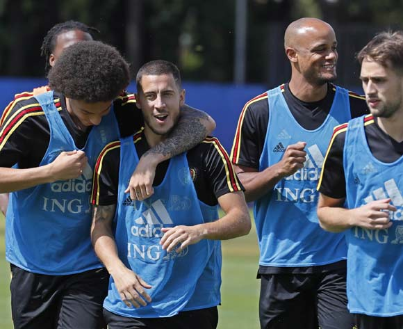 Eden Hazard (2-L),  Axel Witsel (L) and Vincent Kompany  (2-R) of Belgium during a training session of the team in Dedovsk, Moscow region, Russia, 13 July 2018. Belgium will face England in the match for the 3rd place of the FIFA World Cup 2018 on 14 July. EPA/Yuri Kochetkov