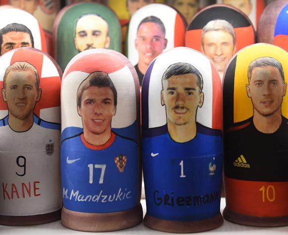 Matryoshka dolls depicting France's Antoine Griezmann (C-R) and Croatia's Mario Mandzukic (C-L) are on display in a souvenir shop in central Moscow, Russia, 13 July 2018. Croatia will face France in their FIFA World Cup 2018 final soccer match on 15 July. EPA/Facundo Arrizabalaga