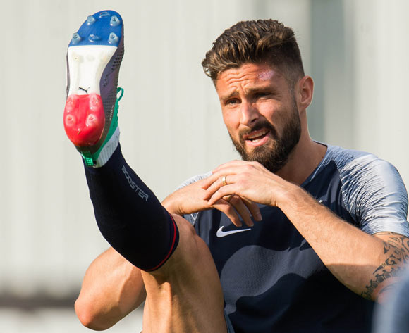 France player Olivier Giroud displays his French flag inspired soles during a training session held in Moscow, Russia, 14 July 2018. France will face Croatia in FIFA World Cup 2018 final on 15 July 2018 in Moscow.  EPA/Peter Powell