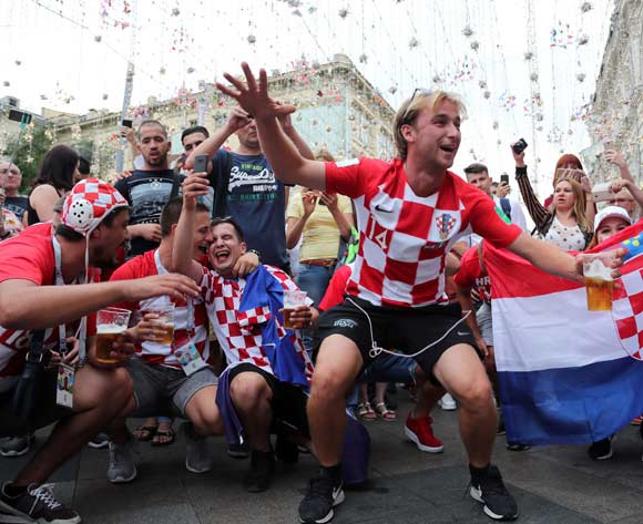 Croatia fans gather in Nikolskaya Street in the center of Moscow, 14 July 2018. Croatia will face France in the final of the FIFA World Cup 2018 on 15 July. EPA/Zurab Kurtsikidze