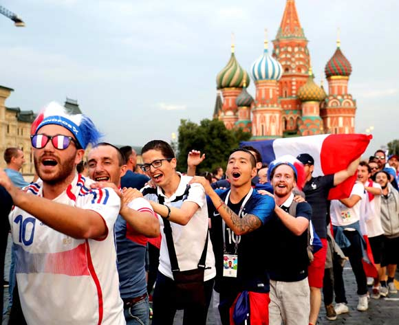 France fans gather in the Red Square in Moscow, 14 July 2018. France will face Croatia in the final of the FIFA World Cup 2018 on 15 July. EPA/Zurab Kurtsikidze