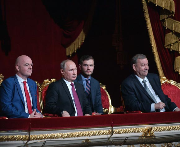 FIFA President Gianni Infantino (L), Russian President Vladimir Putin (2-L) and State Academic Bolshoi Theater director Vladimir Urin (R) attend a gala concert of world opera stars at the State Academic Bolshoi Theatre in Moscow, Russia, 14 July 2018. The concert takes place on the eve of the final match of the 2018 FIFA World Cup. EPA/Alexei Druzhinin/Sputnik/Kremlin Pool