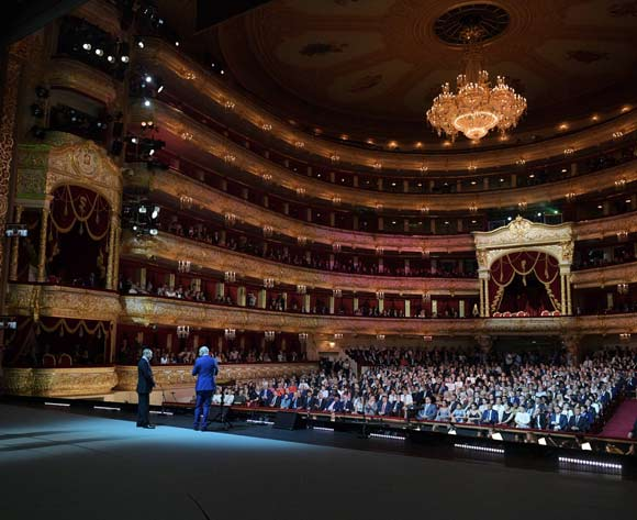FIFA President Gianni Infantino (front R, back to camera) and Russian President Vladimir Putin (front L) attend a gala concert of world opera stars at the State Academic Bolshoi Theatre in Moscow, Russia, 14 July 2018. The concert takes place on the eve of the final match of the 2018 FIFA World Cup. EPA/Alexei Druzhinin/Sputnik/Kremlin Pool