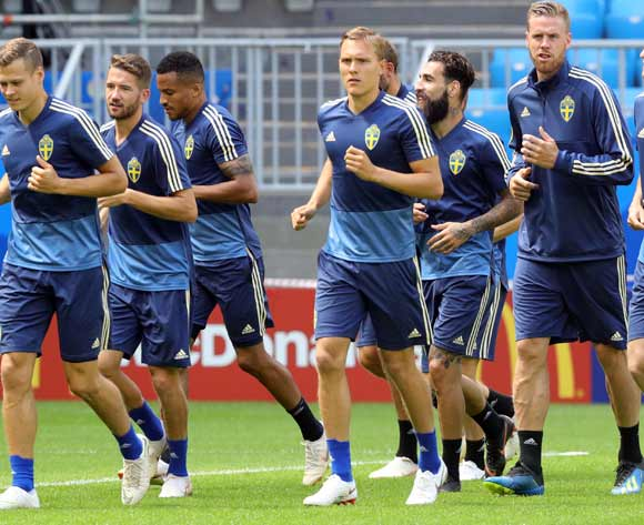 Sweden players during a training session at the Samara Arena, Samara on 6 July 2018. PA Images/Aaron Chown